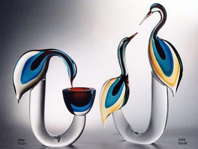 Две цапли и цапля с чашей муранского стекла