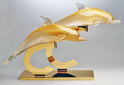 Пара дельфинов муранского стекла