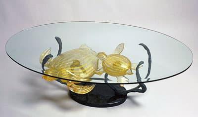 Стол с черепахами муранского стекла