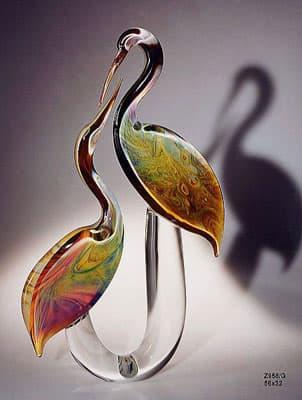 Пара цапель муранского стекла